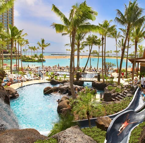 Paradise pool, featuring the longest slide in Waikiki