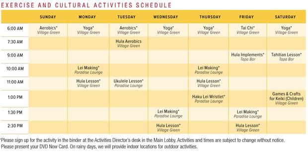 Exercise and cultural Activities Schedule